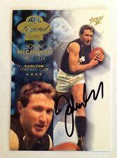 2003 SELECT AFL LEGEND INSERT CARD PERSONALLY SIGNED BY JOHN NICHOLLS CARLTON