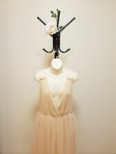 ✿♡ 'ASOS' Womens Dress Size S (Peach Frill Lace Plunge Elegant Mini) ♡✿