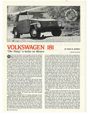 VW Thing 1973 Road and Track Report