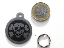 MEDAILLE gravée pirate corsaire tete de mort noir CHIEN collier harnais