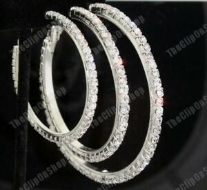 CLIP ON diamante CRYSTAL rhinestone BIG HOOP EARRINGS
