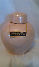 ROUND TAN  Pearl Urn/ASHES?CREMATION  black and gold plate Cremation/ADULT