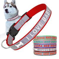 Personalisierte Hundehalsband mit Namen und Telefonnummer Bestickt Reflektierend