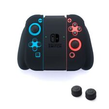 Insten Silicone Skin Gel Shell Case + Style 2 Black Caps For Nintendo Switch