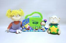 """VTG Nickelodeon Rugrats 90s 14"""" Angelica / Tommy Coin Bank & Rare! Tape recorder"""