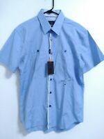 Eight X Premium Slim Fit Mens Size XL Light Blue Short Sleeve Button Up Shirt