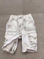 Baby Boy Gap Pants Size 0-3 Month White Black Stitch Pull On