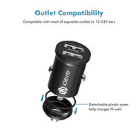 24W QC3.0 PD Type-C Quick Car Charger Dual USB Adapter for iPhone Samsung