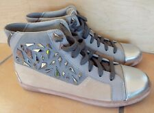 Women's SAM EDELMAN Holden Leather Suede High Top Sneakers Sz 9M LN