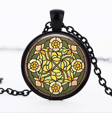 Wild Rose Stained Black Glass Cabochon Necklace chain Pendant Wholesale