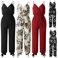 Women's Floral Belted Jumpsuit Strappy V-neck Playsuit Romper Pants With Pocket