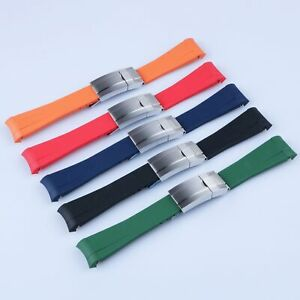 20mm Curved End Rubber Watch Band Silver Brush Clasp For Daytona GMT Submariner