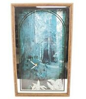 Vintage 1970s Forest Scene Decorative Wall Clock 21x13x2""