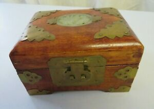 Made In China wooden carved brass & jade jewellery box with hinged lid