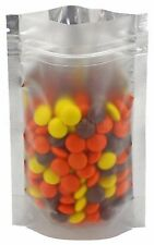 """100 Silver/Clear Stand Up Pouches - 4"""" x 6"""" x 2"""" - 2oz - Resealable Ziplock Bag"""
