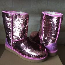 UGG Classic Short Pink Sparkles Sequin Sheepskin Boots Size US 12 Womens
