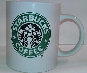Starbucks Coffee White Tea Cup Mug Green Mermaid Siren Logo 2008 11.5 Oz/.325L