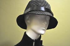 GUCCI Mens Womens Denim Canvas Leather Grey Black Bucket Hat Sz Medium