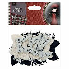 12pc Santoro Gorjuss Girl Tweed Ribbon Trim Fabric Bows Craft DIY Embellishment