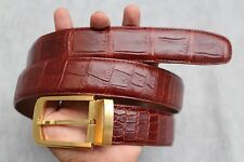 Without Jointed - Red Brown Genuine Alligator, CROCODILE LEATHER Skin Men's BELT