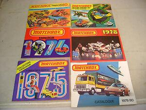 6 MATCHBOX LESNEY COLLECTOR CATALOGUE CATALOGS 1970 1973 1975 1976 1978 1979-80