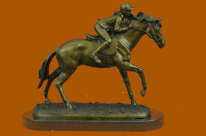 Jockey on Racehorse After the Race signed Mene Hot Cast Artwork Decor Figurine
