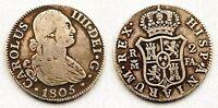 España-Carlos IV. 2 Reales. 1805. FA. Madrid. MBC/VF. Plata 5,8 g. Rara. CAL-976