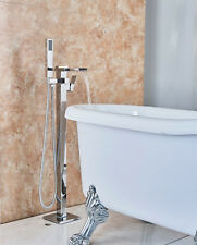 Chrome Polish Bathtub Faucet Tap Floor Mount Waterfall Spout Hand Shower Mixing