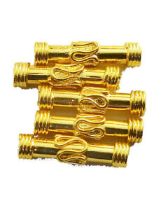 14 PCS 22X6MM SOLID COPPER BALI TUBE BEAD 18K GOLD PLATED 714 FUL-623