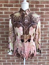 Roberto Cavalli Women's Silk Shirt Blouse Top Button Up Pink Brown Size Large
