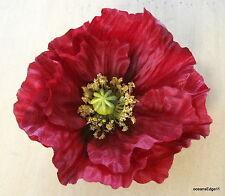 """Full 4.5"""" Red Poppy Silk Flower Hair Clip ,Bridal,Rockabilly,Pin Up,Updo"""