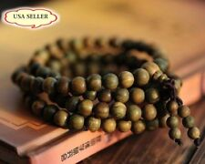 "Fragrant Green Sandalwood 108 Buddhist Prayer Bead Mala Bracelet/Necklace-24"""
