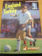 14/10/1987 England v Turkey [At Wembley] (Folded). Any faults are noted in brack