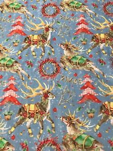 Large Fat Quarter Christmas Reindeer Wreaths Trees 100% Cotton Fabric