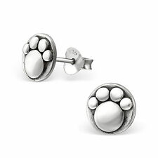 Sterling Silver 925 Round Detailed Paw Print Stud Earrings