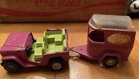 Vintage Buddy L Purple Jeep & Pony Trailer 1968 Pressed Steel 2 Pieces