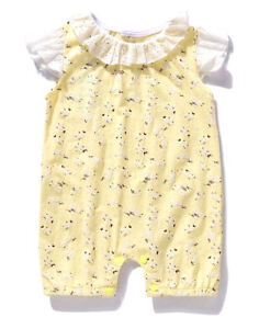 NWT Ajia Boutique Baby Girls Yellow Floral Lace Sunsuit Romper 0-6 Months