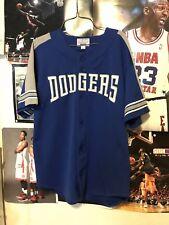 VTG 90s L Starter Los Angeles Dodgers Sewn Jersey Blue Gray Polyester Shirt LA