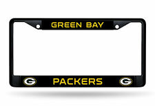 Green Bay Packers CUSTOM BLACK LBL Frame Metal Chrome License Plate Tag Cover