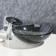 Various Round/Oval Bathroom Glass Wash Basin Sink With Brass Mixer Faucet Set-B