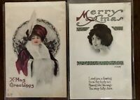 Lot of 2 Art Deco~Pretty Ladies ~Antique Christmas Holiday~Postcards-s973