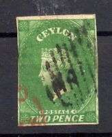 Ceylon QV 1857 2d yellowish green imperf fine used #3A WS15254
