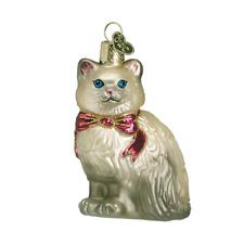 """Himalayan Kitty"" (Grey) (12089) Old World Christmas Glass Ornament w/ Owc Box"