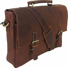 "UNICORN Real Leather 16.4"" Laptop Netbook Ultrabook Messenger Bag - Tan #7L"
