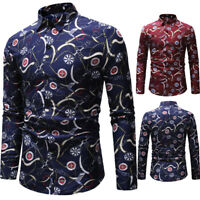 NEW Men Slim Fit Casual Shirt Men's Luxury Long Sleeve Tops Blouse Tee Shirts