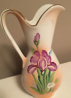 Vintage Vcagco Japan Hand Painted Floral Vase with Gold Trim 5.5 Inches