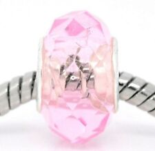 Pink Faceted Crystal October Birthstone Murano Glass Bead for European Bracelets