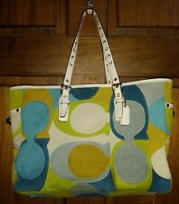 Coach Suede & Leather Blue Multi-Color Optic C Gallery Tote Bag F03682 RARE