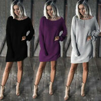 Ladies Women Long Sleeve Casual Loose Knitted Sweater Pullover Jumper Dress CHK