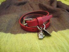 Alexander McQueen Red Leather Double Wrap Skull Bracelet